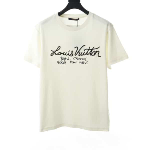 LOUIS VUITTON SIGNATURE EMBROIDERED LOGO T-SHIRT