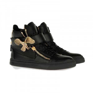 GIUSEPPE ZANOTTI MEN'S BLACK EAGLE MOTIF HI-TOP SNEAKERS