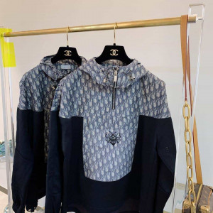 DIOR AND SHAWN ANORAK NAVY BLUE TECHNICAL COTTON CANVAS - CD5
