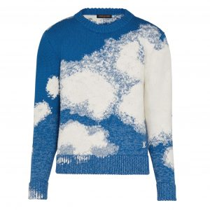LOUIS VUITTON HAND-KNIT CLOUD INTARSIA CREWNECK IN BLUE - LV18