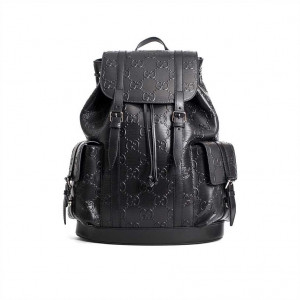 GG EMBOSSED BACKPACK IN BLACK LEATHER
