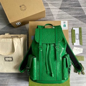 GG EMBOSSED BACKPACK IN GREEN LEATHER
