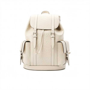 GG EMBOSSED BACKPACK IN WHITE LEATHER