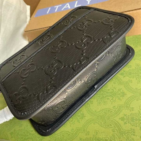 GG EMBOSSED COSMETIC CASE BLACK GG EMBOSSED LEATHER COTTON LINEN LINING