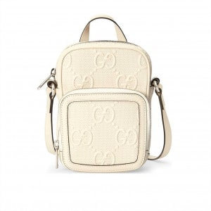 GG EMBOSSED MINI BAG IN WHITE LEATHER