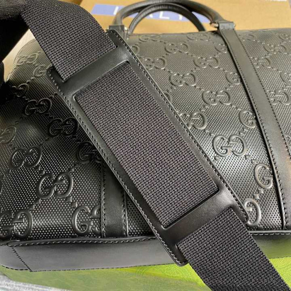 GUCCI GG EMBOSSED BRIEFCASE BLACK LEATHER COTTON LINEN LINING