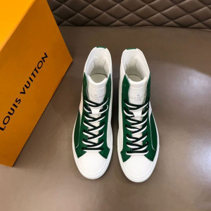 LOUIS VUITTON SNEAKERS BOOTS GREEN GRAINED CALF LEATHER - LSVT098