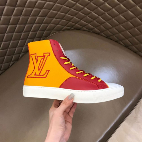 LOUIS VUITTON SNEAKERS BOOTS RED AND YELLOW GRAINED CALF LEATHER - LSVT097