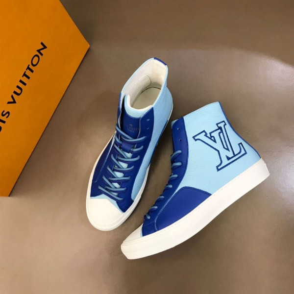 LOUIS VUITTON TATTOO SNEAKERS BOOTS BLUE GRAINED CALF LEATHER - LSVT099