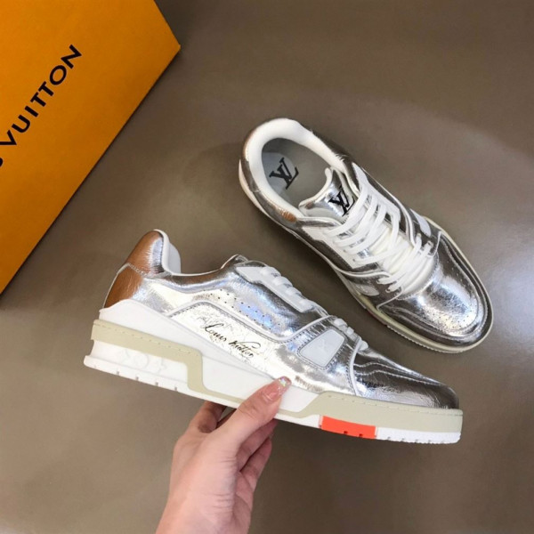 LOUIS VUITTON TRAINER SNEAKERS METALLIC LEATHER SLIVER - LSVT095