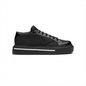 PRADA MACRO RE-NYLON AND BRUSHED LEATHER SNEAKERS - PD023
