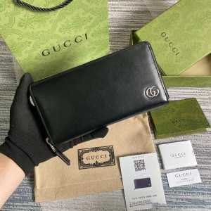 Gucci gg Marmont Leather Zip Around Wallet Black Metal Free Tanned Leather Double G - WEG002