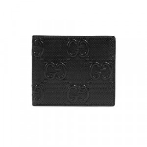 Gucci gg Embossed Wallet Black gg Embossed Leather Viscose Lining - WEG004